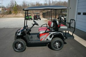 Red Grey Black Megastar Wheels Custom EZ-GO RXV Golf Cart