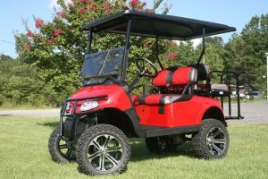 Rocket Red Custom Lifted EZ-GO RXV Golf Cart
