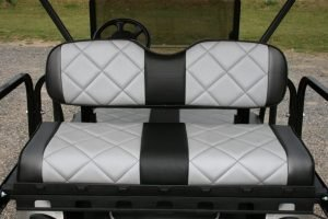 Silver Birch with Silver and Charcoal Seats Custom EZ-GO Golf Cart