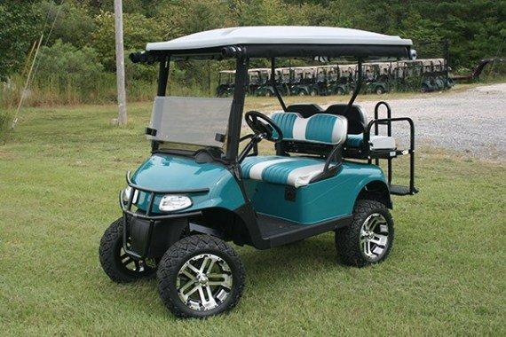 Storm Teal and Silver Custom Lifted EZ-GO Golf Cart