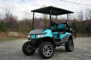 Teal and Charcoal with Matching Seats Custom EZ-GO Golf Cart