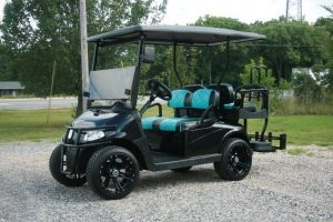 Tuxedo Gloss Black with Teal and Black Seats Custom EZ-GO Golf Cart