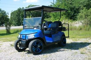 Viper Blue with Blue Rims Low Profile Custom EZ-GO Golf Cart