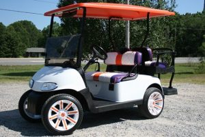 Clemson Colors Purple Orange White Custom Used EZ-GO Golf Cart
