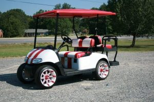Red and White Super Sport EZ-GO RXV Custom Golf Cart