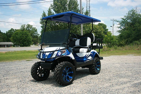 Blue and White Custom Yamaha Golf Cart