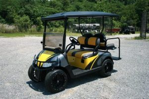 Yellow Charcoal Black Custom Low Profile EZ-GO Golf Car