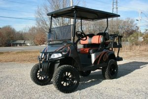 Burnt Orange Charcoal Black Custom Lifted EZ-GO RXV Golf Cart