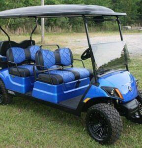 Metallic Blue Yamaha Concierge 4 Passenger Golf Cart